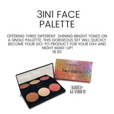 Offering three different shining bright tones on a single palette. This gorgeous set will quickly become your go-to product for day & night makeup looks. Face Contouring, Contour Makeup, Face Makeup, Cool Things To Make, Make Up, Face Palette, Farmasi Cosmetics, Highlighter And Bronzer, Brunette Makeup