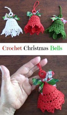 63 Super ideas for crochet christmas bells pattern free knitting Crochet Christmas Decorations, Crochet Decoration, Christmas Crochet Patterns, Crochet Ornaments, Holiday Crochet, Crochet Snowflakes, Crochet Crafts, Yarn Crafts, Crochet Projects