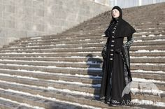 "Long Wool Gothic Coat ""Blackbird"" With Hood. $580.00, via Etsy."