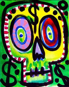 AAfA Sale Original Stucky Day of the Dead by STUCKYOUTSIDERART, $25.00