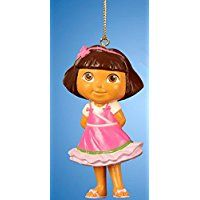 Christmas Tree Ornament Dora the Explorer Pink Dress With Glittered Under Skirt Christmas Tree Ugly Sweater, Christmas Tree Ornaments, Christmas Christmas, Dora Toys, Dora The Explorer, Holiday Time, Pink Eyes, Pink Glitter, Disney Princess