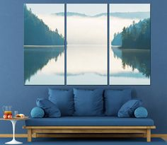 Forest Lake Wild Nature Photography Multi Panel Canvas Print