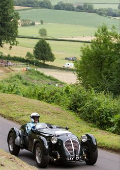 1950 Healey Silverstone in the countryside of England.