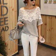 Top-Blusa-PIZZO-camicetta-camicia-maglietta-maglia-donna-manica-lunga-T-shirt