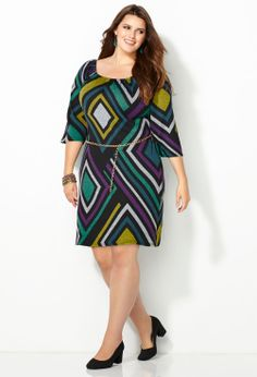 Cool Color Diamond Sheath Dress-Plus Size Dresses-Avenue