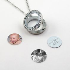 Photo Locket Necklace with up to 6 photo discs and personalised engravings. Free UK delivery.