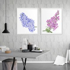 Lilac Watercolor set of 2 Lilacs Illustration Purple Pink