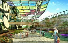 Healing Garden at Suzhou Children's Hospital New Hospital, Childrens Hospital, General Hospital, Suzhou, Hospital Architecture, Hospital Design, Cool Roof, Canopy Design, Site Plans