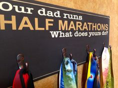 Father's Day Gift, Runners Gifts, Half Marathon Running Medal Holder - Our dad runs on Etsy, $44.99