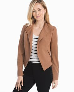 "Living up to its name, our latest seasonless moto jacket is an office-to-weekend staple you can truly wear now, wear later—thanks to the neutral hue, plush knit fabrication and impeccable tailoring (think soft lining, long sleeves and fitted seams).   Seasonless moto jacket in sandalwood Open styling Side zip pockets Lightly padded shoulders Buttons at each cuff Soft goldtone hardware Fully lined Approx. 22"" from shoulder Polyester/rayon/spandex. Turn inside out, machine wash cold.  Imported…"