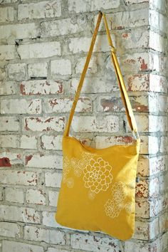 My FAVORITE handmade purse store.  Golden Yellow Casey Bag with creme Rosetta  Print by appetite, $52.00