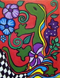 ORIGINAL PAINTINGMexican Folk Art  Lizard   by by AVApostleDesign, $150.00