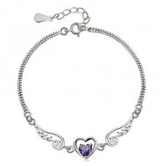 Sweet Heart And Angel Wings With Amethyst Women's Bracelet - USD $29.95