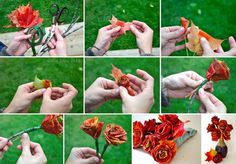 with autumn nearing, it's time to hear up your place with this artistic DIY fall decorations idea. diy outdoor fall decor, fall craft ideas for adults, diy fall crafts Leaf Flowers, Diy Flowers, Paper Flowers, Fall Flowers, Centerpiece Flowers, Rose Leaves, Flower Diy, Flower Making, Leaf Crafts