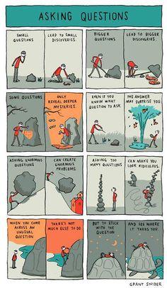 Incidental Comics le strisce a fumetti di Grant Snider Cute Comics, Funny Comics, Sad Comics, Questions To Ask, This Or That Questions, Funny Memes, Hilarious, Funniest Memes, Creative Writing