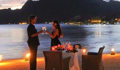 Romantic private beach side dinner at InterContinental Bora Bora Resort & Thalasso Spa