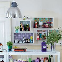 Love these shelves for an office/craft room Diy Interior, Interior Decorating, Ikea Boxes, Wall Boxes, Blog Deco, House Doctor, Space Crafts, Decoration, Room Inspiration