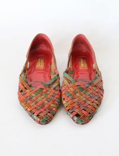 Vintage 80s Colorful Woven Leather Huaraches // Womens Summer Sandals 6 1/2. $36.00, via Etsy.