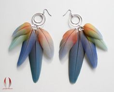 Pastel hues, natural parrot feather earrings, blue turquoise pink lavender, pale green, dangles silver hoops - Watercolor Dreams - LAST ONES on Etsy, $68.00