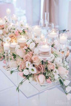 Centrotavola elegante - Candele e rose