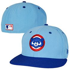 df5401783eb Let everyone know which MLB team you love with this Chicago Cubs 1984 Logo  Two-Tone Fitted Cap from New Era! This hat is all light blue with a royal  blue ...
