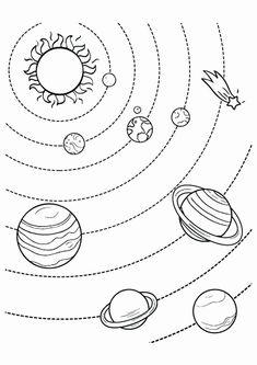 Monochrome Drawing Stylized Solar System Orbits Planets