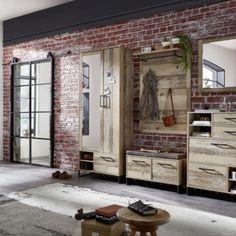 """Designově zajímavý předsíňový nábytek v retro stylu """"lehce omšelého"""" nábytku, vkusná kombinace dřevěného dekoru s kovovými částmi v barvě anthrazit. Samostatně zakoupitelné elementy. Přední plochy:   Used Style Mix dekor. Korpus:   Used Style Mix dekor, viditelné zadní. Plochy - černé matné, kovové části - anthrazit. Entryway, Interior Design, Room, Furniture, Home Decor, Hallways, Entrance, Nest Design, Bedroom"""