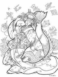 島原遊女の恵比寿天の塗り絵の下絵、画像