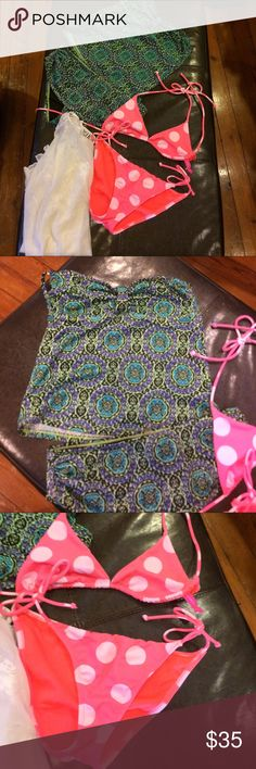 Victoria's Secret beach ready swim sz small lot 2 Victoria's Secret swim suits EUC the green print one is missing a strap because she wore it strapless if I find it I'll include it. The cover up is a sheer cover up top from Escante Collection. Super cute to be beach ready. Smoke free home dog mom Victoria's Secret Swim