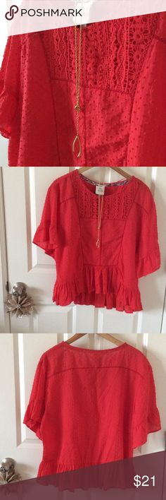 Pretty red Swiss dot shirt with detailing Slightly a high-low shirt with raised dot pattern and neckline detailing. Fits true to size. Knox Rose Tops Blouses