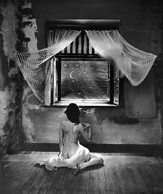 The more a person limits himself, the more resourceful he becomes. A solitary prisoner for life is extremely resourceful; to him a spider can be a source of great amusement. - Søren Kierkegaard, Either/Or / Photo by Jan Saudek: Zuzanka's Night Window Edward Steichen, Art And Illustration, Night Window, Stars And Moon, Personal Branding, Dark Art, Black And White Photography, Photo Art, Fantasy Art