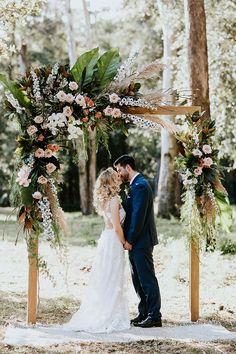 Boho peach woodland wedding ceremony arbour | My Little Love #OutdoorDestination