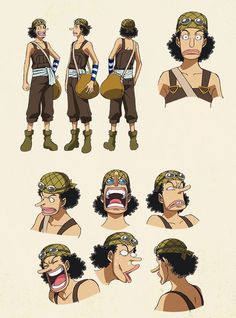 Usopp color sheets, Character design, Official reference, Settei