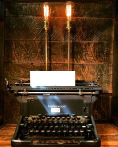 This typewriter lamp from Stonehill Design would make an eclectic addition to any home. Old Lamps, Bob Vila, Lighting Design, Lighting Ideas, Shipping Container Homes, Home Furnishings, Repurposed, Recycling, Typewriters