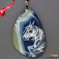 Hand Painted Arabianhorse Pendant For Necklace Gemstone Silver Bail ZL807338 #ZL #Pendant