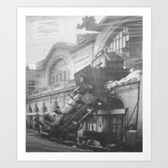 This is a print of the Gare Montparnasse train accident inside the Kerrisdale Train Museum. Although it is slightly aged, it was photographed perfectly to allow us the extent of the accident and where the train came to halt.  For more information please click on the image!