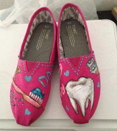 Useful yet only to the select few: Handpainted TOMS Shoes- DENTIST- PINK Shoes- Dental Theme-