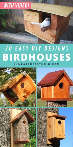 If you're ready for fun family summer activity ideas, here are 20+ free simple birdhouse designs for a fun summer woodworking project that even kids can enjoy! These birdhouses are made from wood sheets, natural wood logs, & other simple materials. These look amazing in your front yard, garden, or backyard area, and attract all sorts of beautiful birds to your home. Learn how to create a homemade nesting box from a log in a fun afternoon project and attract bluebirds and more. Get started now. Dyi Bird House, Bird House Plans, Bird Houses Diy, Backyard Projects, Cool Diy Projects, Outdoor Projects, Craft Projects, Birdhouse Designs, Bird Houses Painted