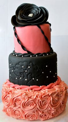 Pink and Black Bridal Shower Cake www.nBluf.com