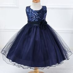 Girls-Sequinned-Dress-Sleeveless-Formal-Party-Wedding-Bridesmaid-6-colors-HT