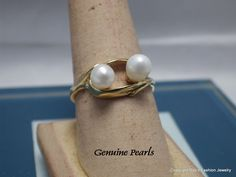 Genuine Pearls In 14 Kt Gold Fill Setting by BobsFashionJewelry on Etsy