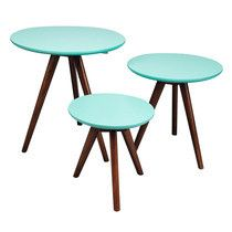 Lot de 3 tables gigognes en noyer, plateau turquoise