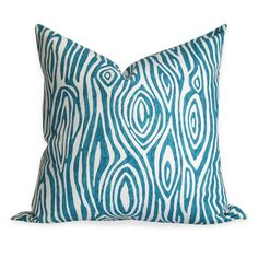 Faux Bois Teal Pillow Cover - Same Fabric BOTH Sides - INVISIBLE Zipper Closure. $24.00, via Etsy.