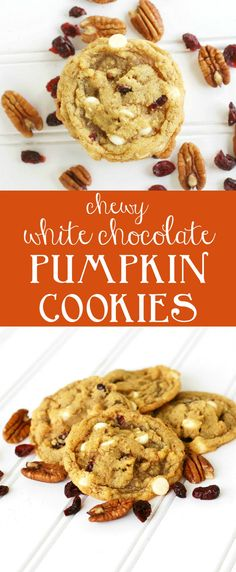 Chewy white chocolate pumpkin cookies with pecans and cranberries. A perfect non-cakey pumpkin cookie recipe. A must make for fall! via creationsbykara.com