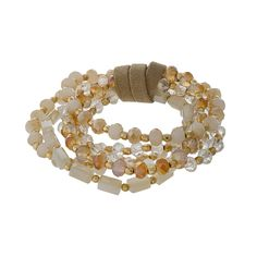 Wholesale multi strand stretch bracelet set ivory champagne gold faceted beads