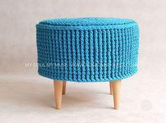 Crochet pouf crochet footstool round pouf knitted by RNArtDesign