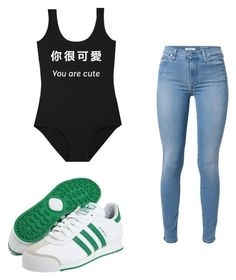 """Untitled #95"" by destinygotem ❤ liked on Polyvore featuring adidas and 7 For All Mankind"