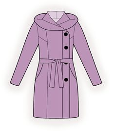 Hooded Coat - Sewing Pattern #4383. Made-to-measure sewing pattern from Lekala with free online download.