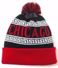 CHICAGO POM BEANIE Winter Geometric Knit Ski Bulls Blackhawks-Colors Men  Women  KBTrading  Beanie 07afdce9ebff