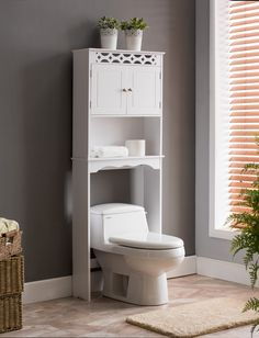 Kings Brand Furniture White Finish Wood Over The Toilet Bathroom Space Saver Storage Cabinet. Add extra storage space in your small bathroom with this tall over… Small Bathroom Cabinets, Bathroom Rack, Wood Bathroom, Bathroom Furniture, Bathroom Storage, Bathroom Ideas, Bathroom Designs, Bathroom Plans, Bathroom Shelves